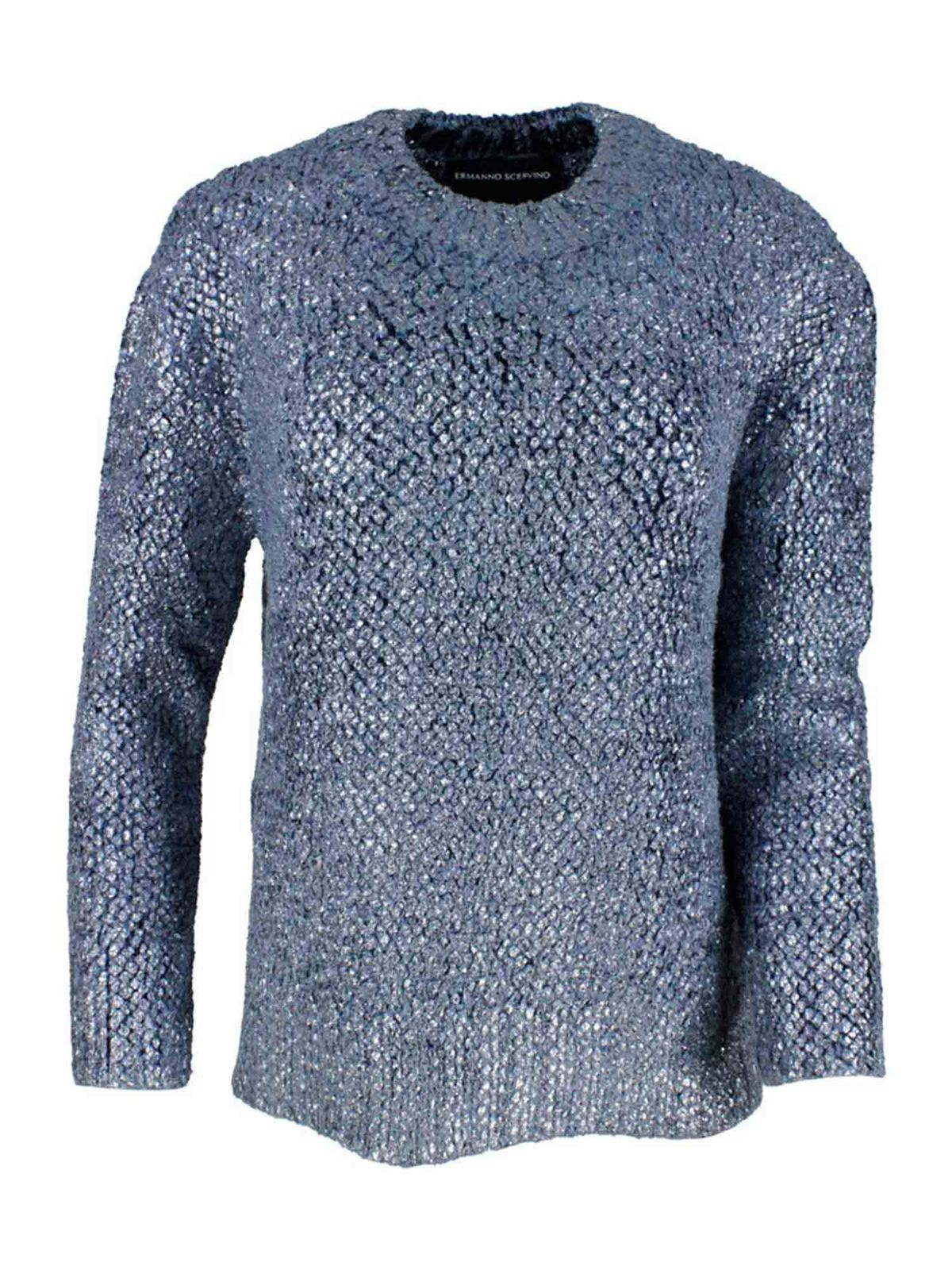 Ermanno Scervino CRYSTALS PULLOVER IN BLUE