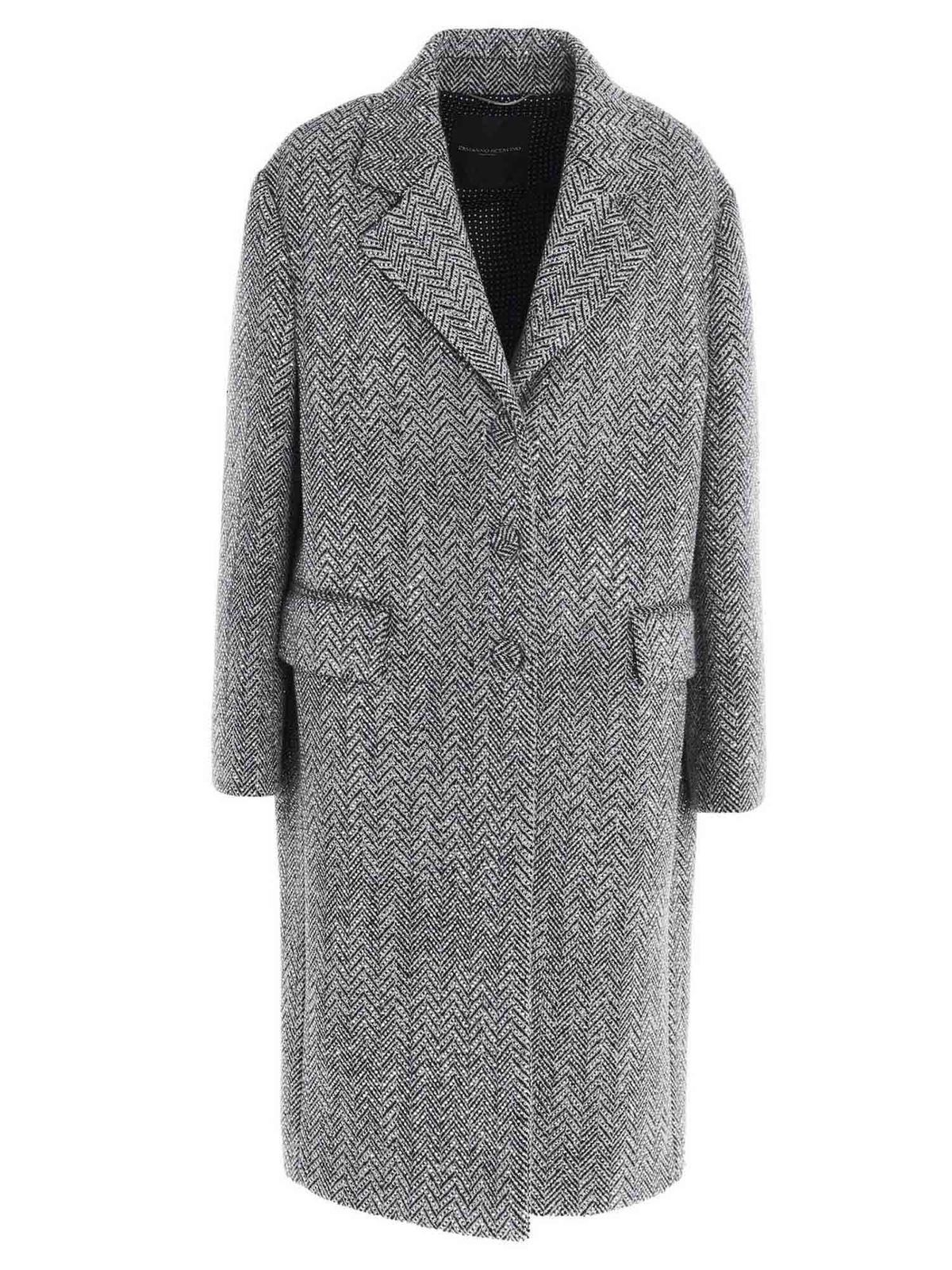 Ermanno Scervino CHEVRON AND RHINESTONE COAT IN GREY