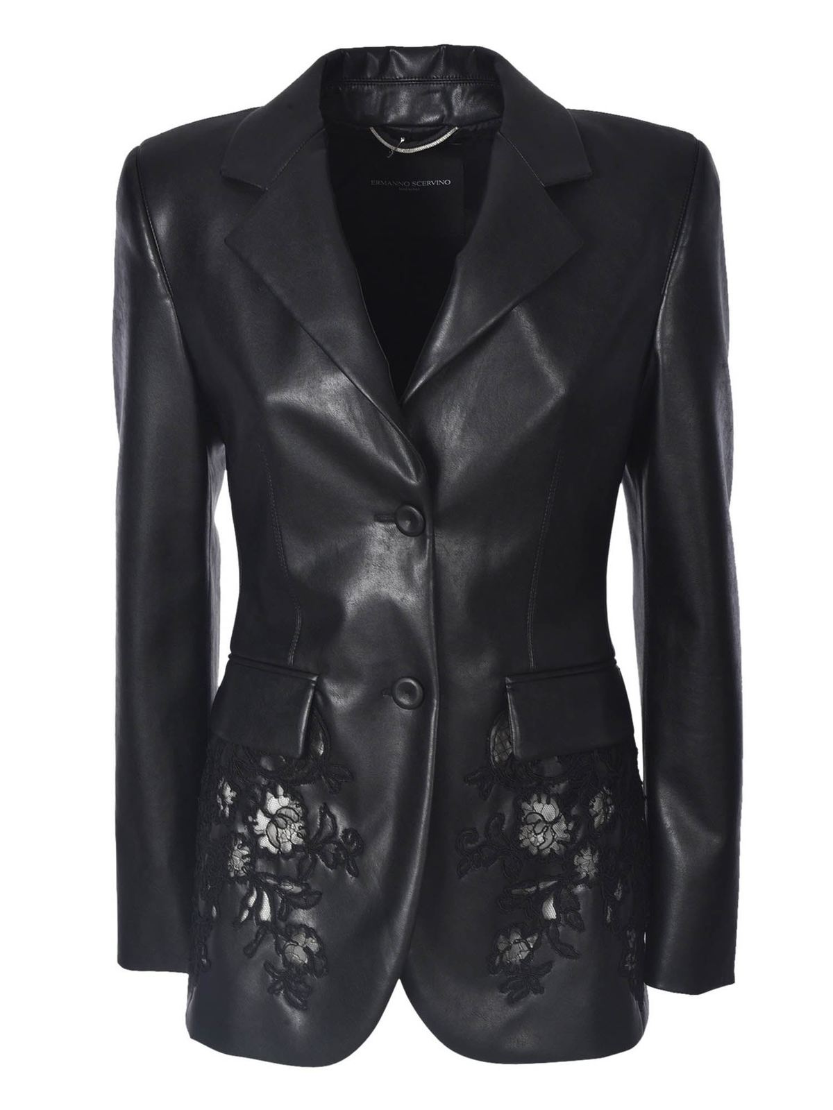 Ermanno Scervino SYNTHETIC LEATHER JACKET WITH EMBROIDERY IN B