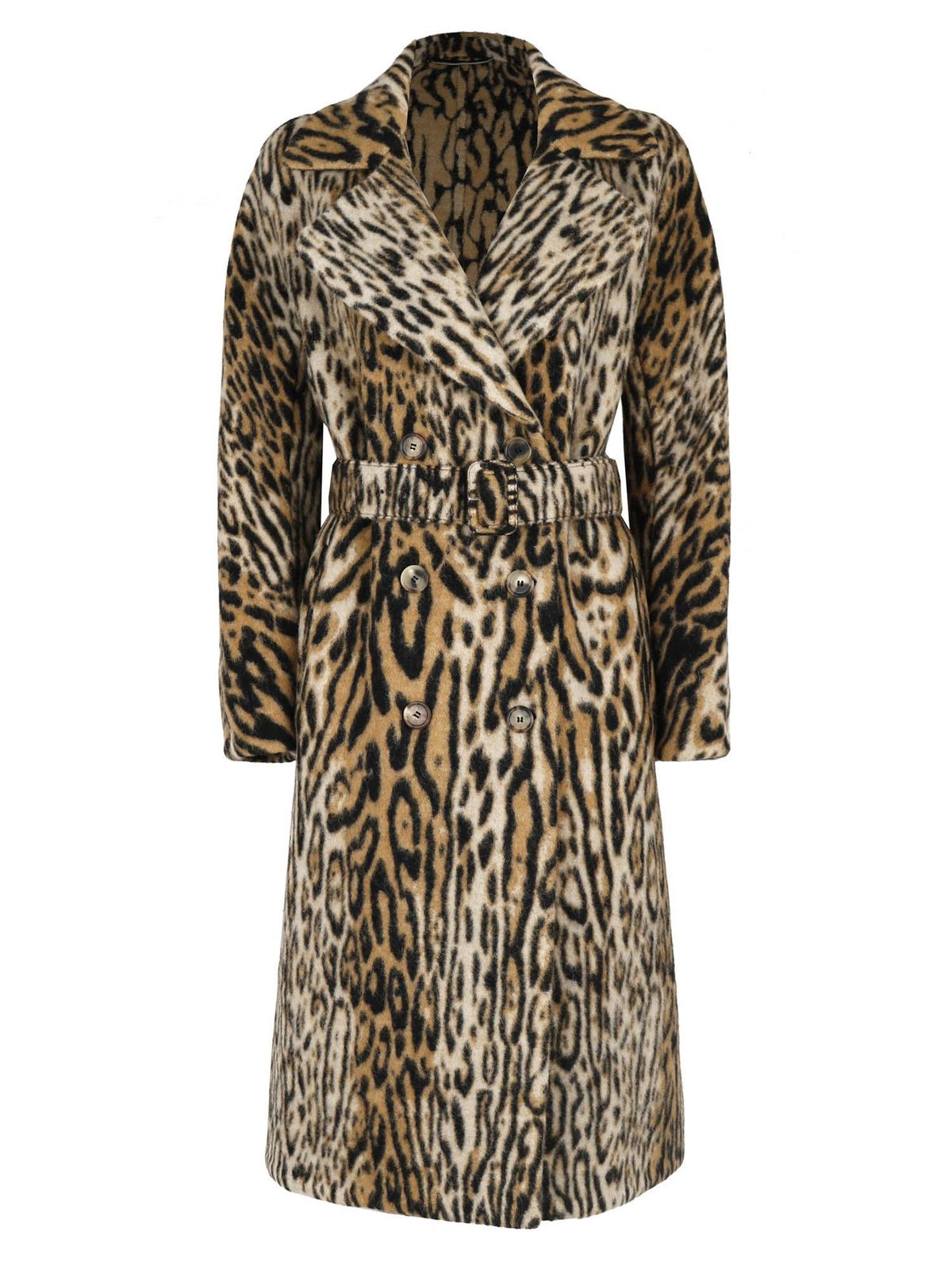 Ermanno Scervino DOUBLE-BREASTED COAT IN ANIMALIER