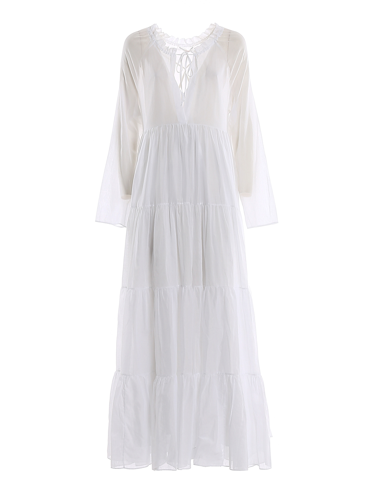 Ermanno Scervino Cotton Muslin Maxi Dress In White