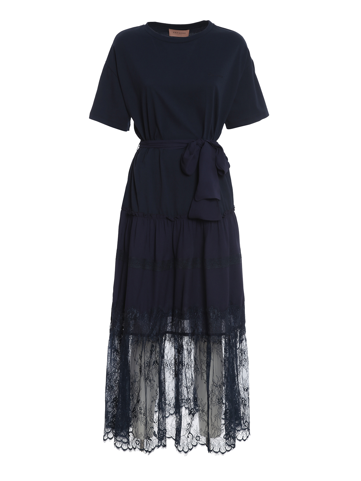 Ermanno Scervino T-SHIRT DRESS WITH LACE