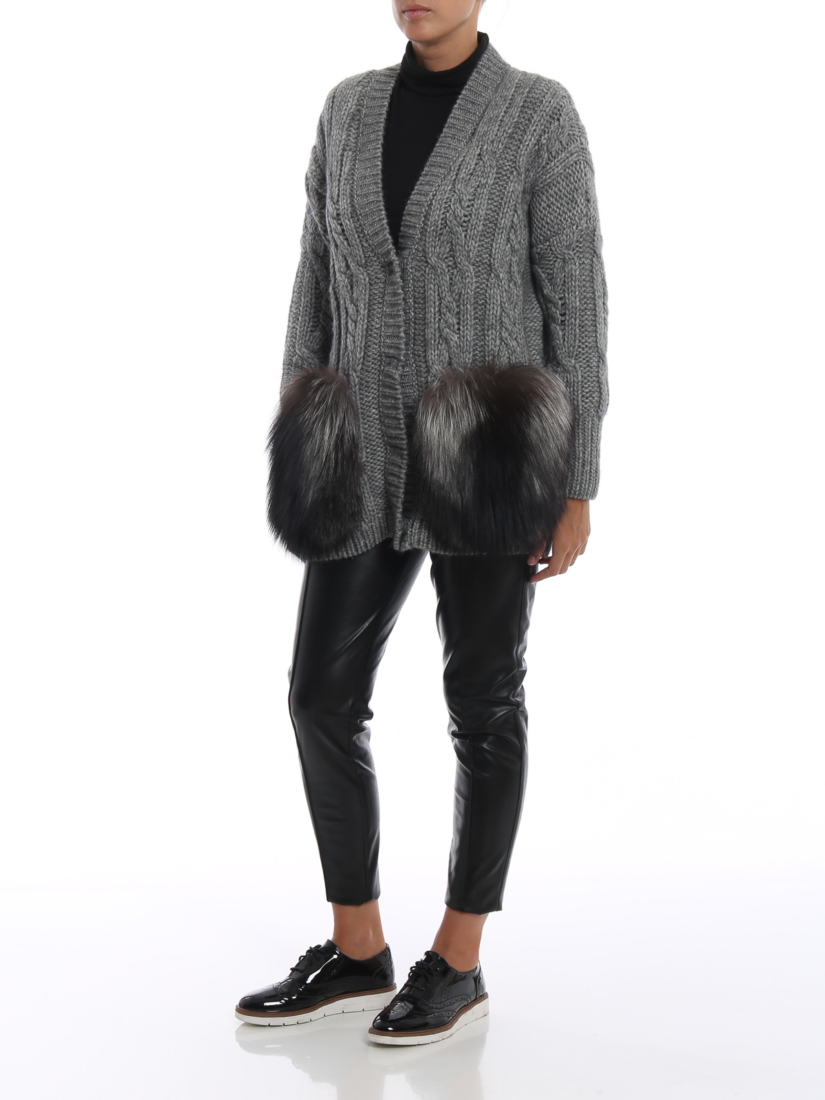 be186ad35bd ERMANNO SCERVINO  cardigans online - Fur pockets wool blend over cardigan