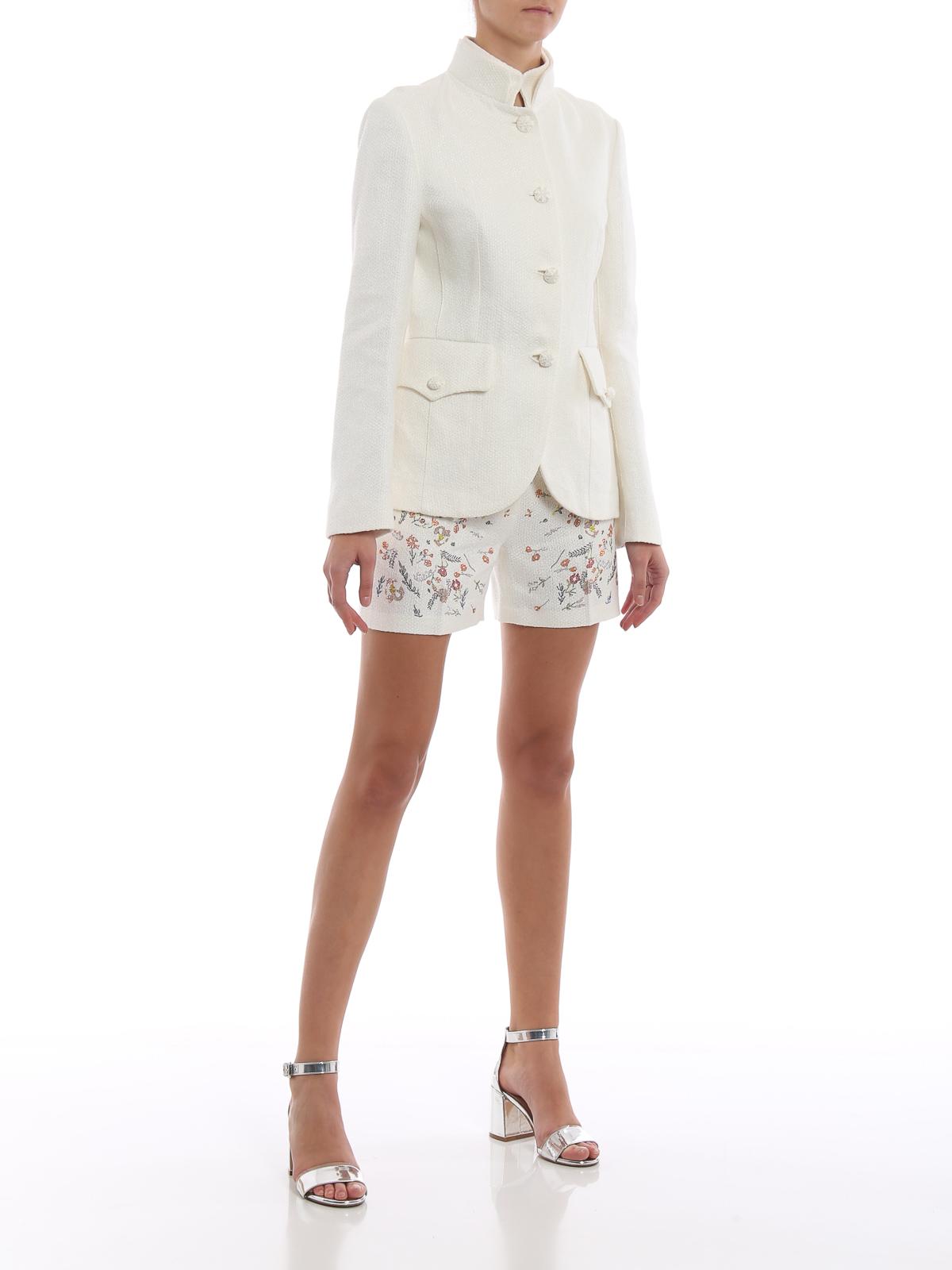 huge discount 67f3d 48118 Ermanno Scervino - Giacca bianca elegante in misto lino ...