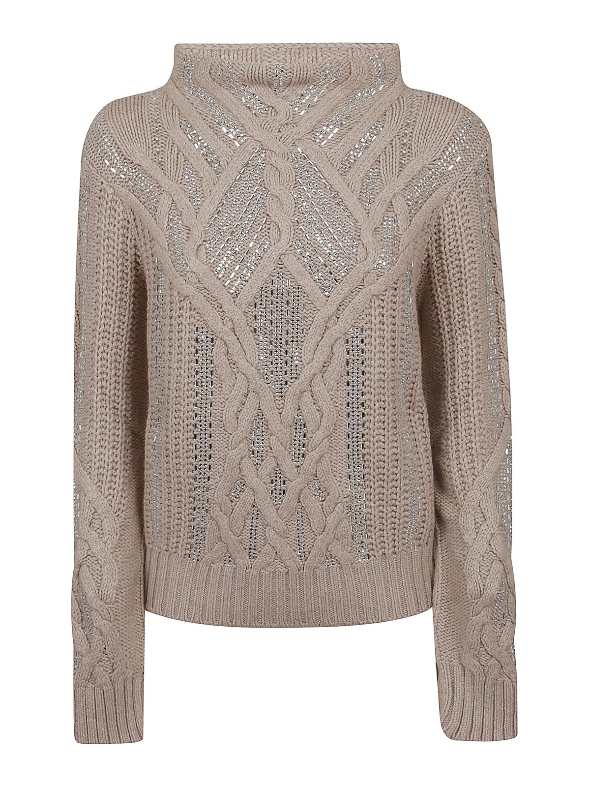 Ermanno Scervino CRYSTALS DETAILED WOOL BLEND SWEATER