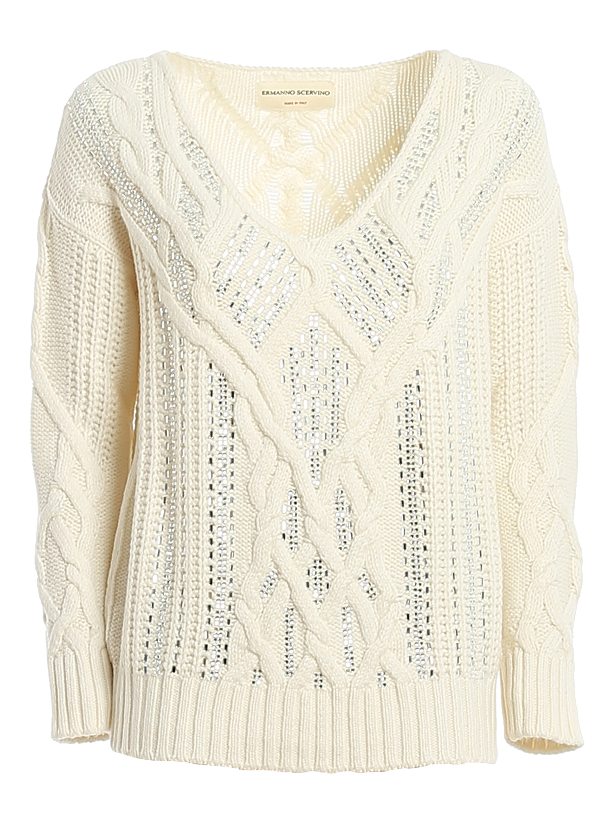 Ermanno Scervino EMBELLISHED V-NECK SWEATER