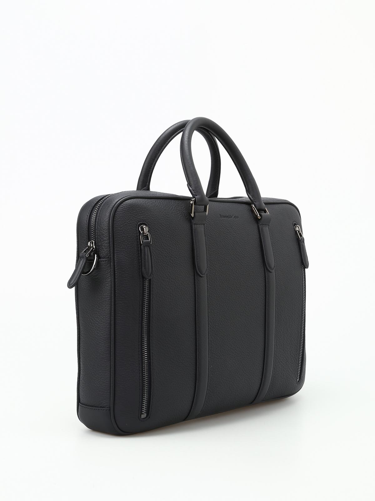 83a0e1f872 ERMENEGILDO ZEGNA: borse da ufficio online - Borsa da ufficio in pelle blu  scuro