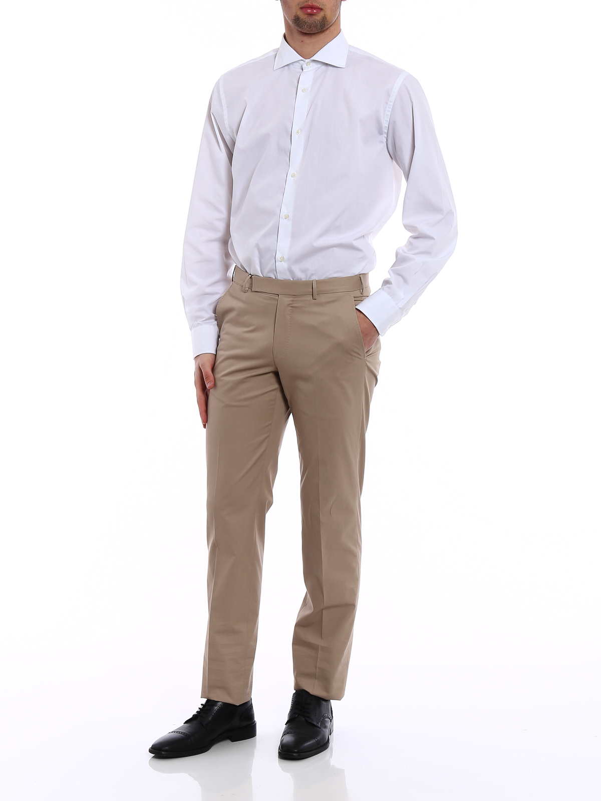 b016d07cfed ... ERMENEGILDO ZEGNA  Tailored   Formal trousers online - Beige light  cotton twill trousers ...