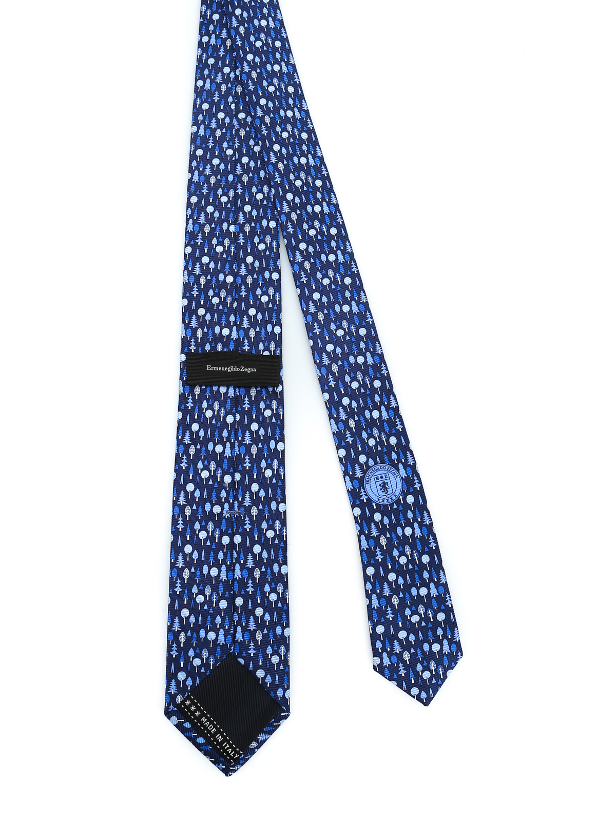 af91784bc7 Ermenegildo Zegna - Dark blue silk tree printed tie - ties & bow ...