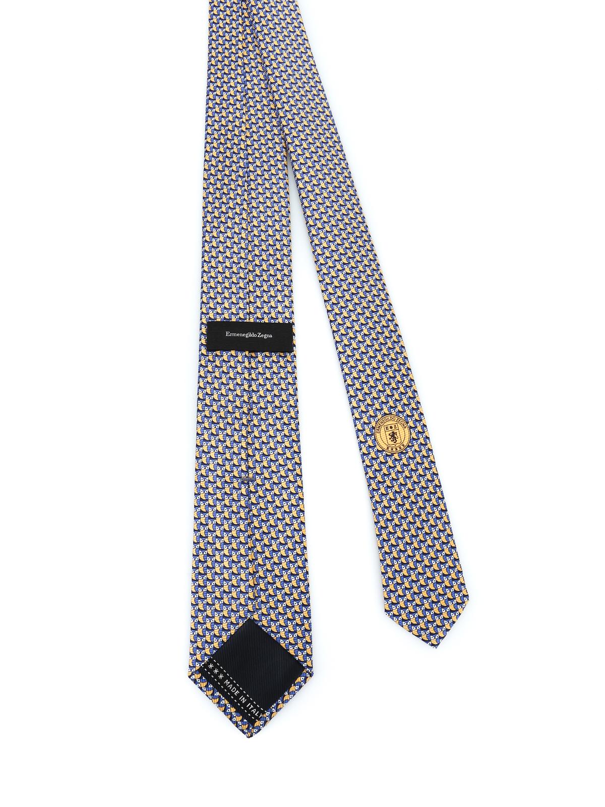 moda noi sporchi piuttosto carino Ermenegildo Zegna - Cravatta con gufo in seta gialla e blu ...