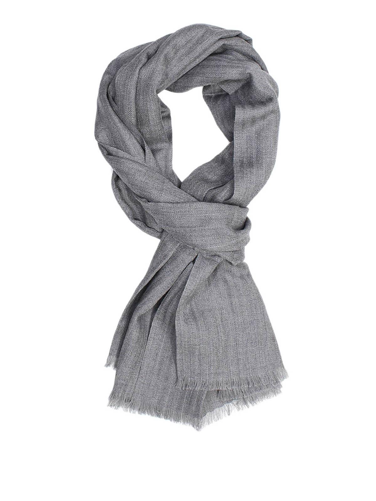 ERMENEGILDO ZEGNA  sciarpe e foulard - Sciarpa spigata in cachemire e seta 5b5bbe5f6b7