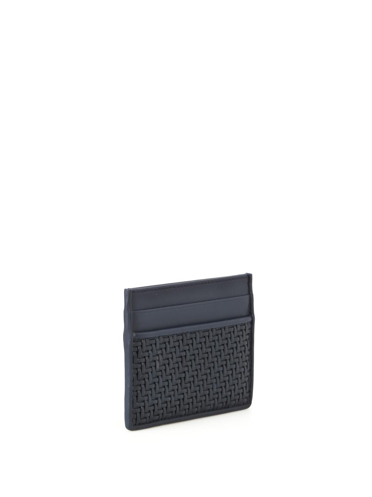 Pelle tessuta blue card holder by ermenegildo zegna wallets ermenegildo zegna wallets purses online pelle tessuta blue card holder reheart Images