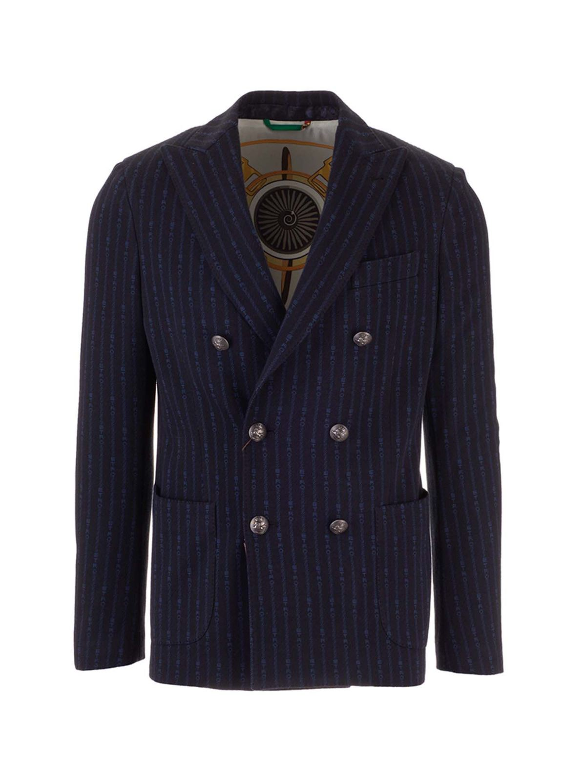 Etro DOUBLE-BREASTED JACKET IN BLUE
