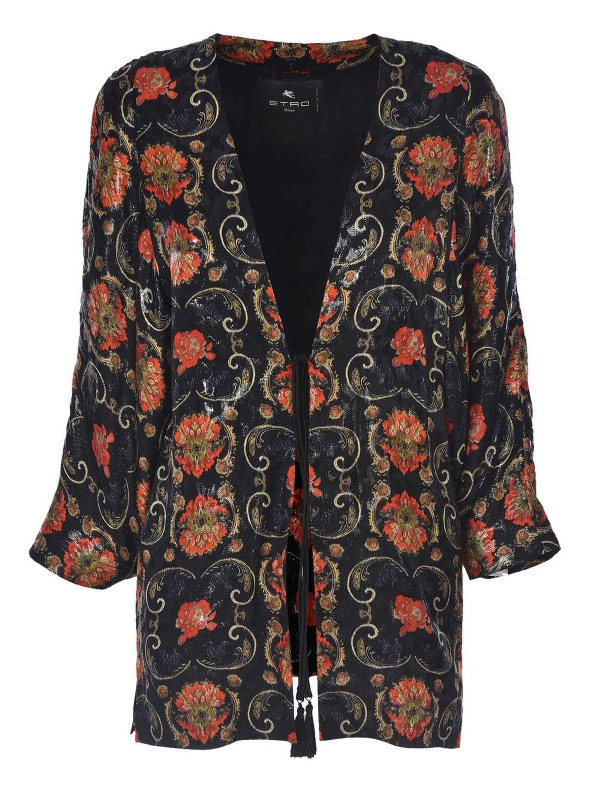 Etro JACKET IN BLACK WITH FLORAL PRINT