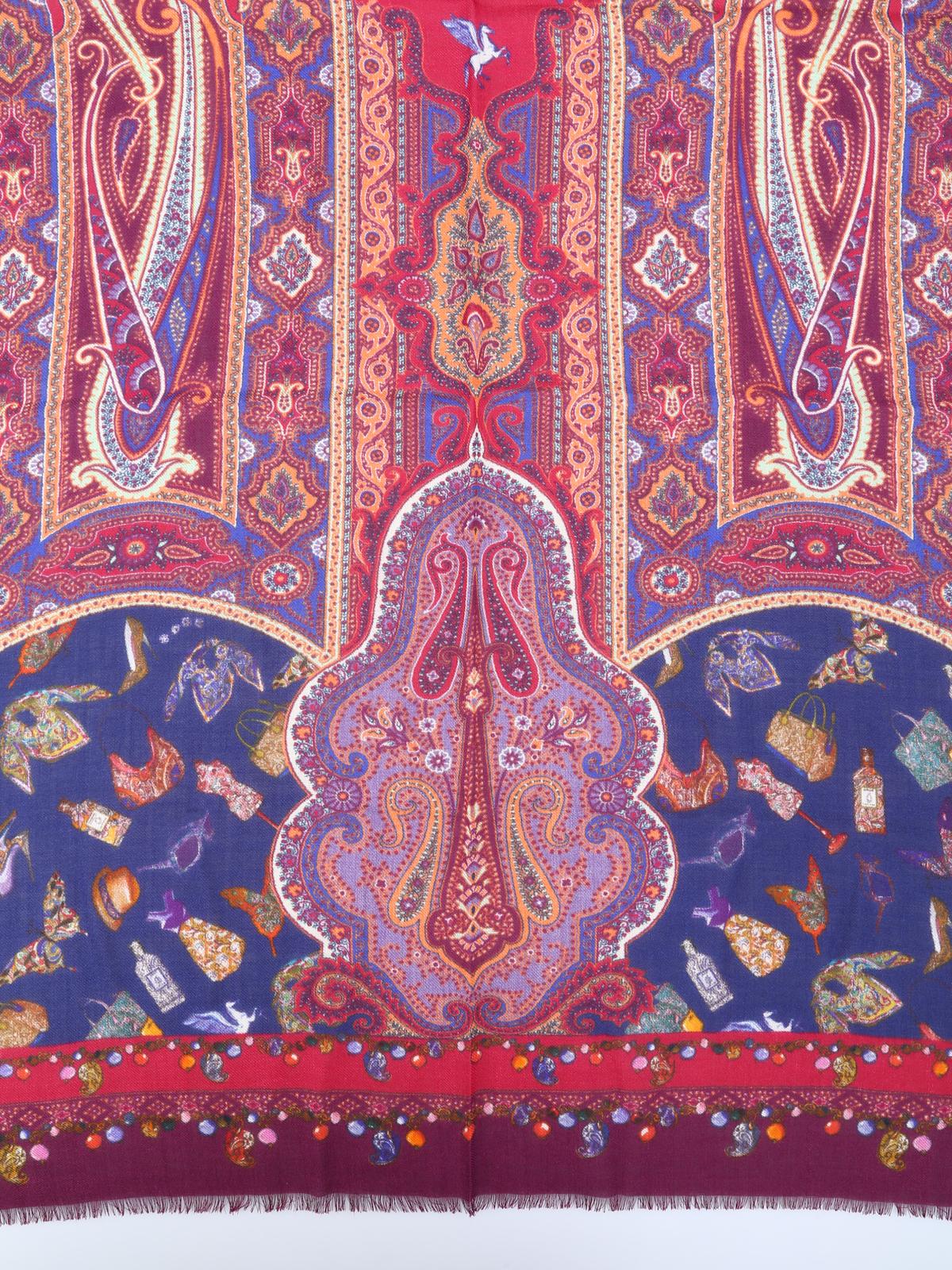 size 40 4070d f7a19 Etro - Sciarpa paisley in lana e seta - sciarpe e foulard ...
