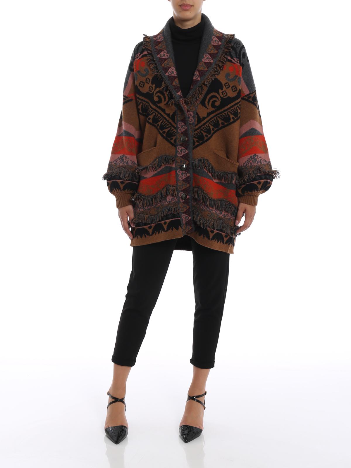 huge discount 189ee 7aa09 Etro - Cappotto corto in maglia di lana jacquard - cappotti ...
