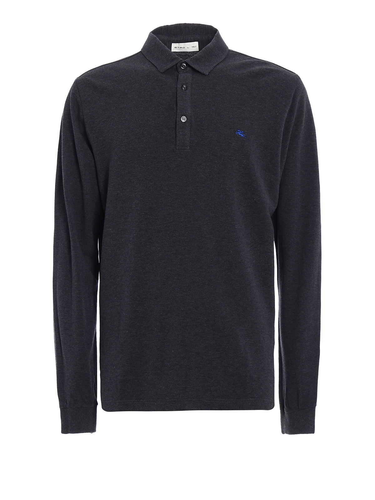 Cotton Pique Long Sleeved Polo By Etro Polo Shirts Ikrix