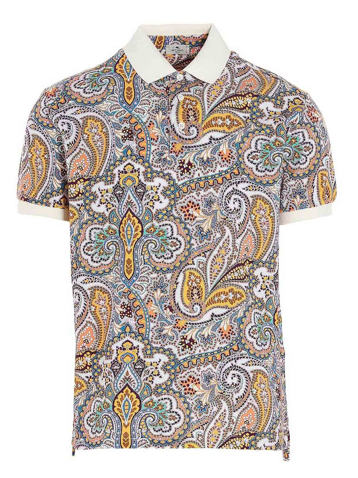 Etro Cottons PAISLEY POLO SHIRT IN MULTICOLOR