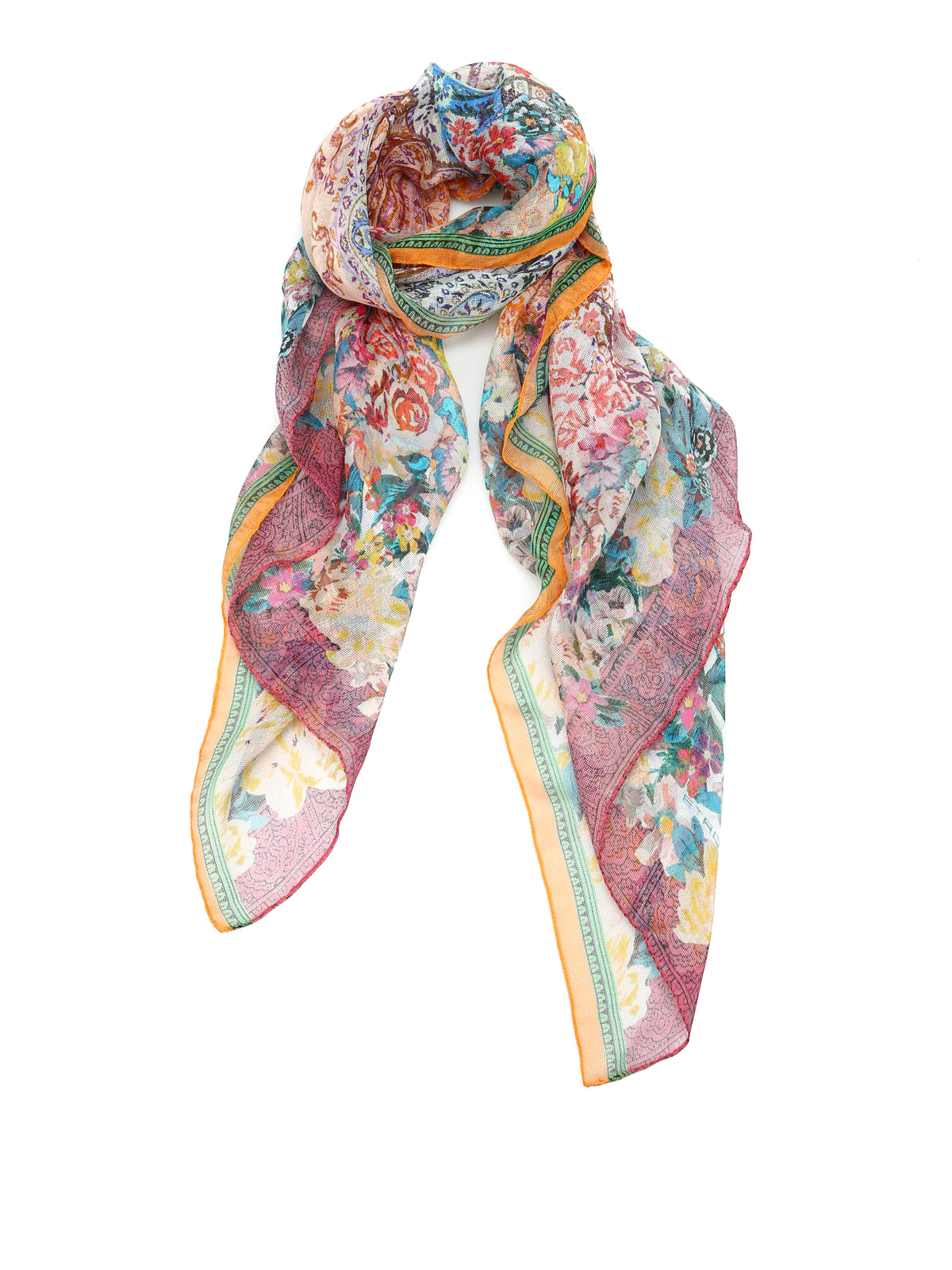 Etro Mesh Work Silk Scarf Scarves 11506 5609 Shop