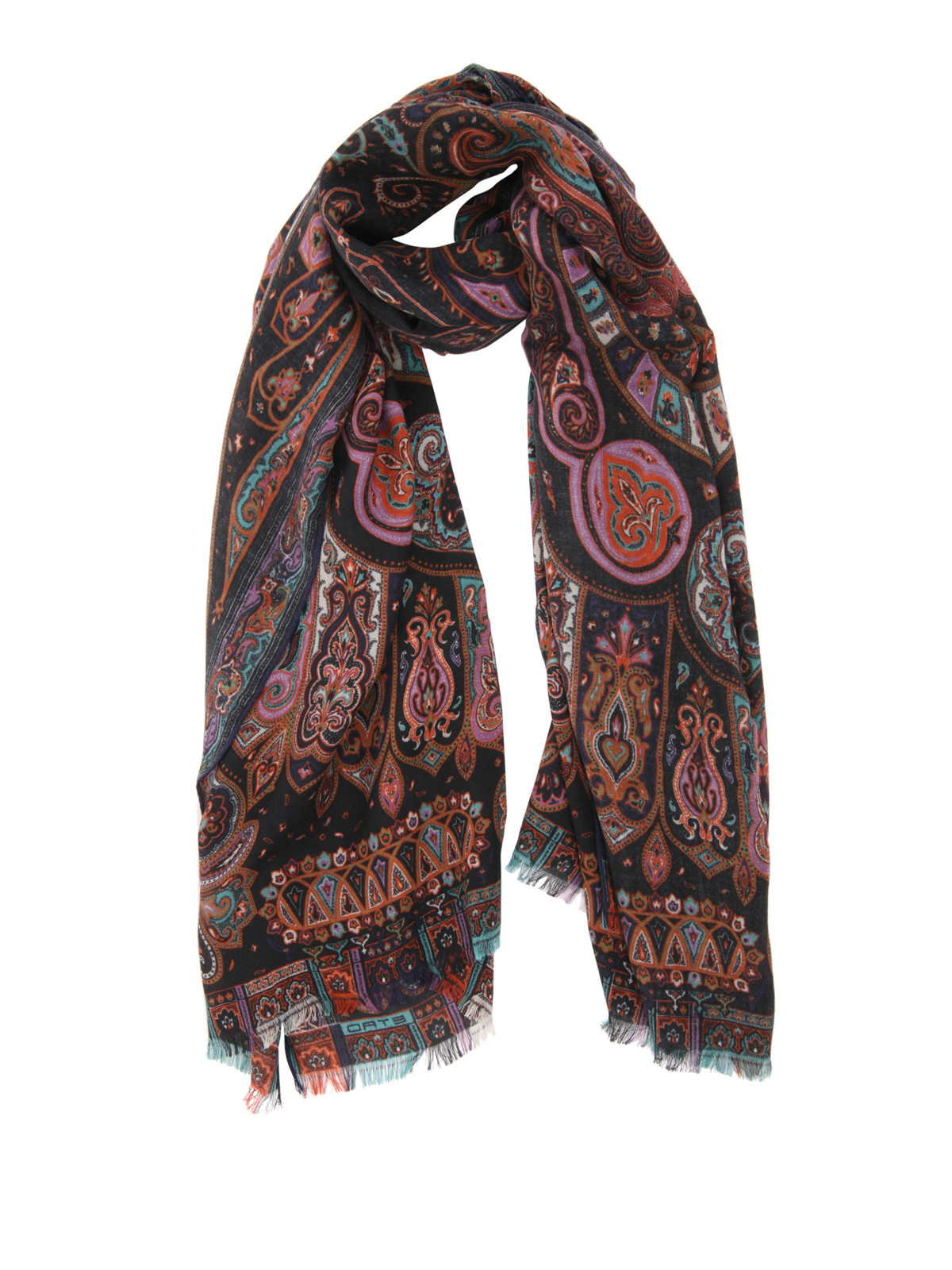 size 40 12ef5 d500e Etro - Sciarpa paisley in lana e seta - sciarpe e foulard ...