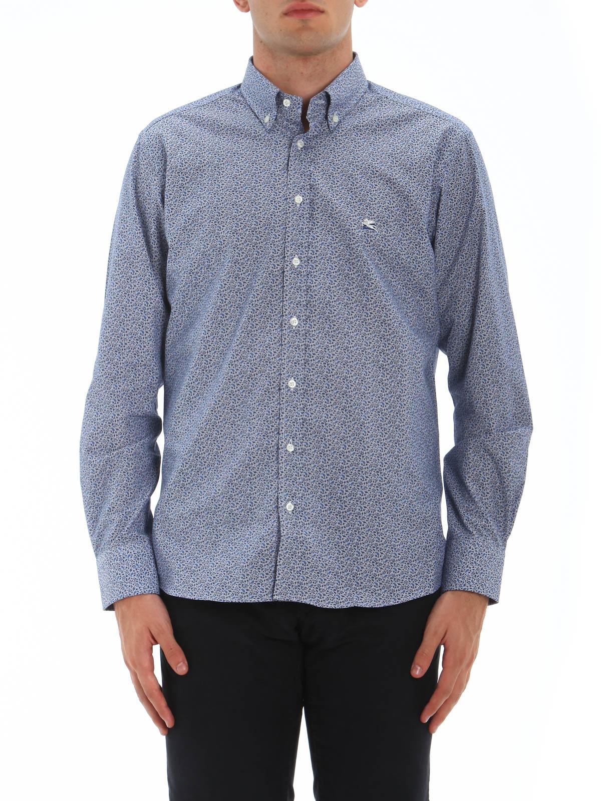 Micro Pattern Button Down Shirt By Etro Shirts Shop