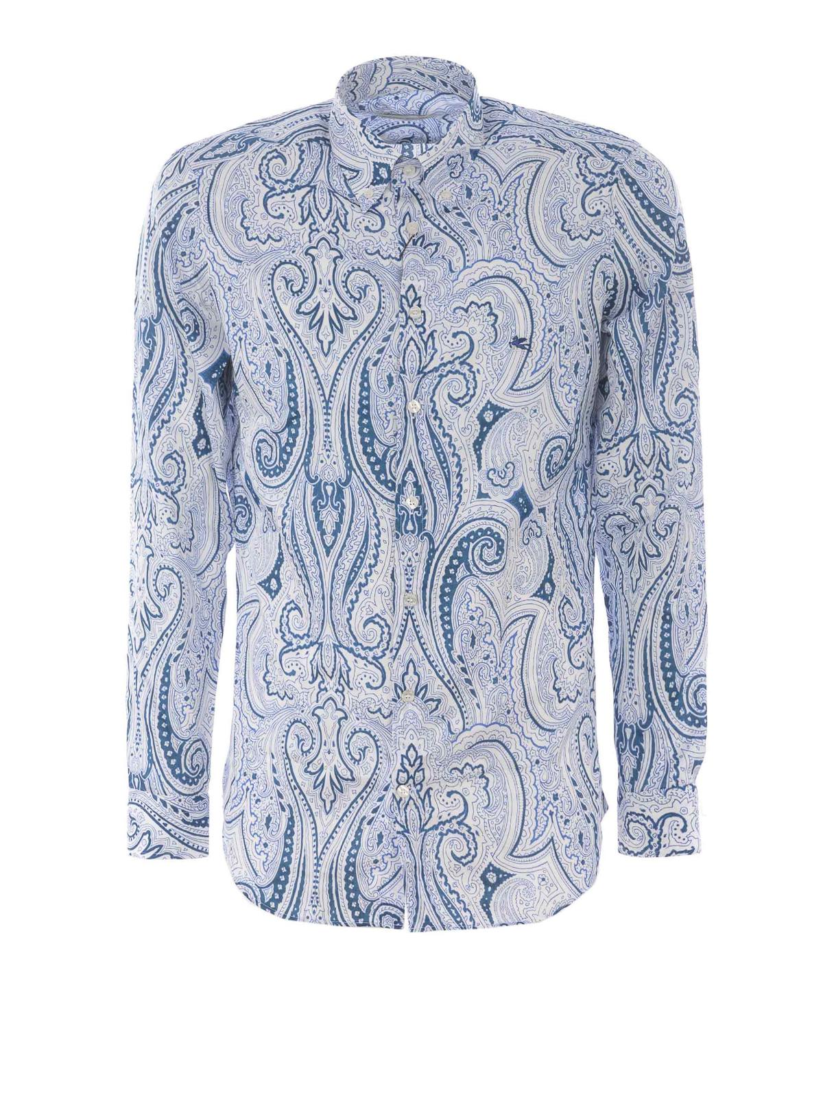 new product 7e254 3fbd2 Etro - Camicia slim b/d in cotone stampa cachemire - camicie ...