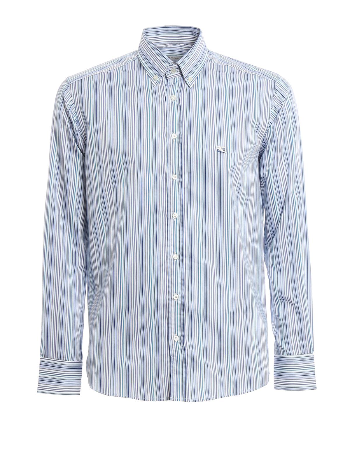 Striped Cotton Button Down Shirt By Etro Shirts Ikrix