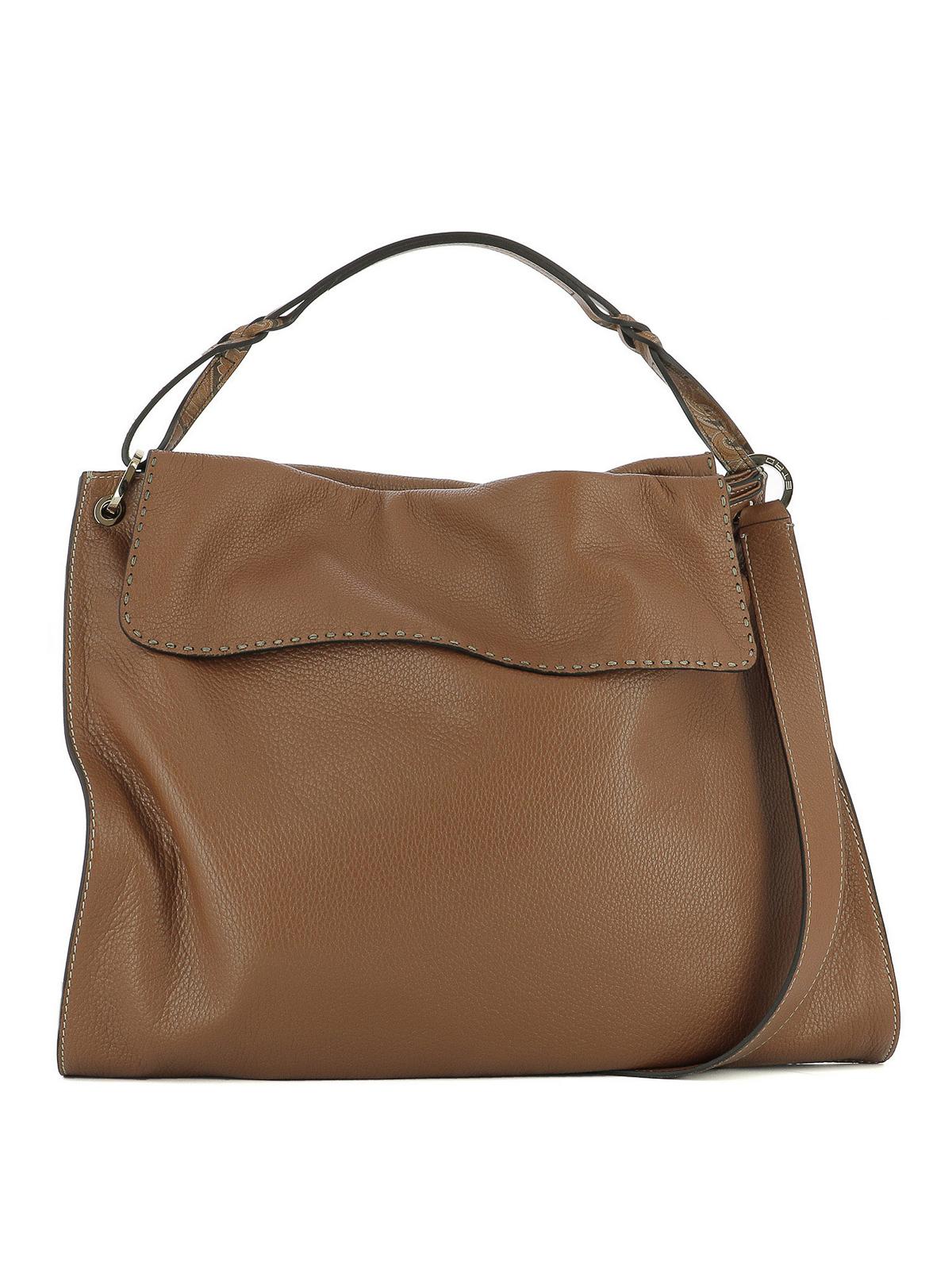 Etro Leather Shoulder Bag In Brown