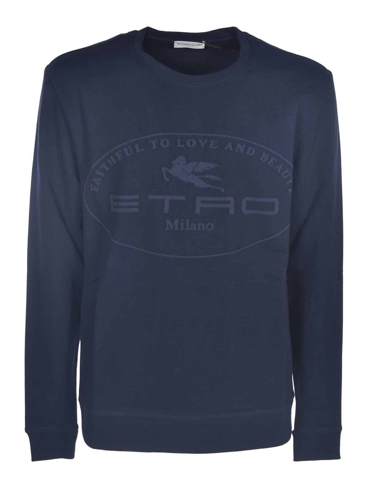 Etro PRINTED SWEATSHIRT IN BLUE