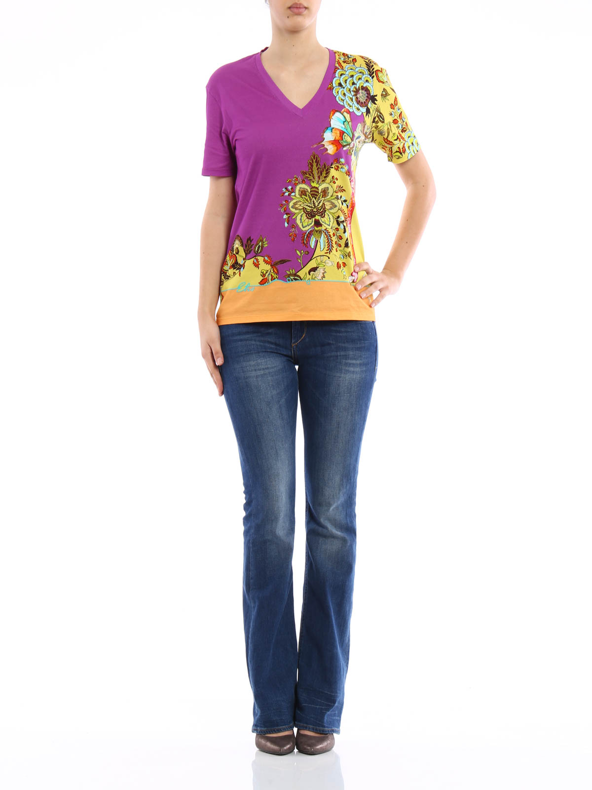 Cotton floral printed t shirt by etro t shirts ikrix for Online printed t shirts