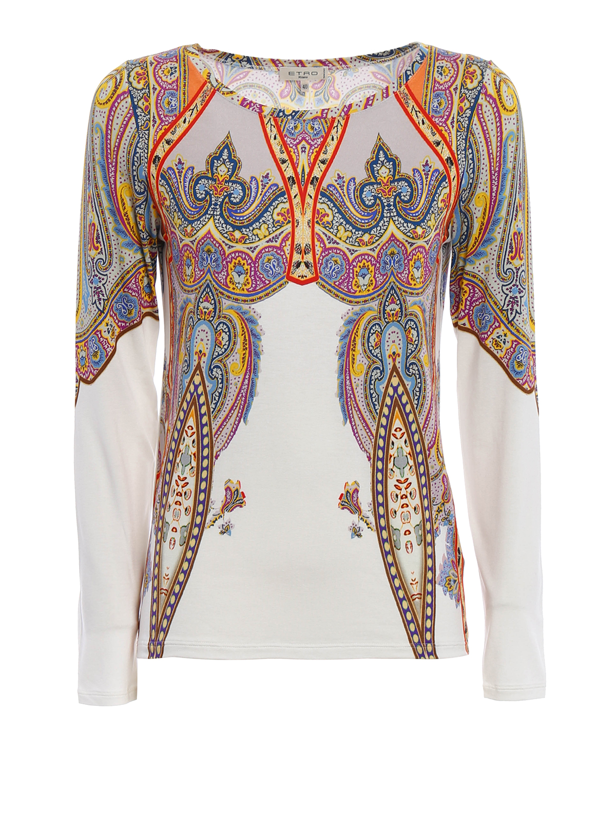 Printed jersey long sleeve t shirt by etro t shirts ikrix for Long sleeve printed t shirts