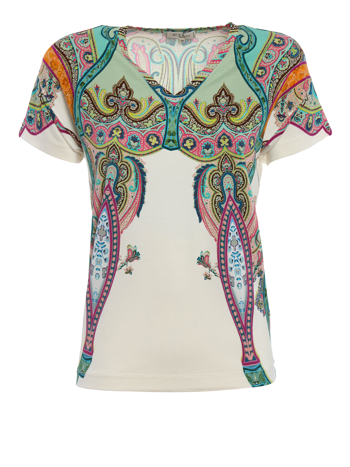Printed jersey v neck t shirt by etro t shirts shop for T shirt printers online