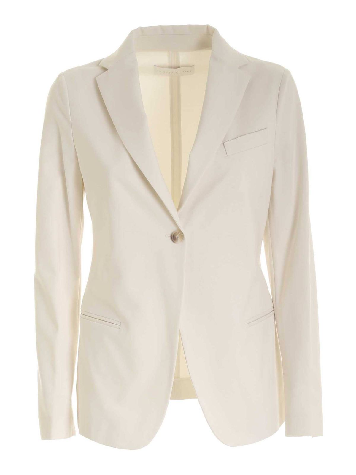 Fabiana Filippi MICRO BEADS JACKET IN WHITE