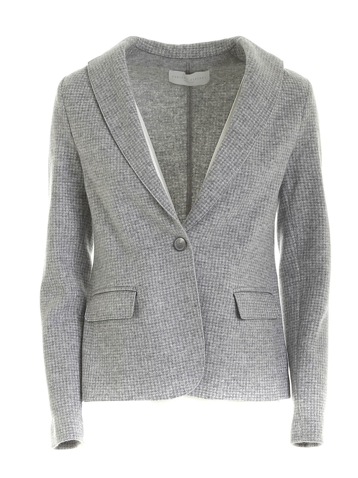Fabiana Filippi SINGLE-BREASTED JACKET IN MELANGE GREY
