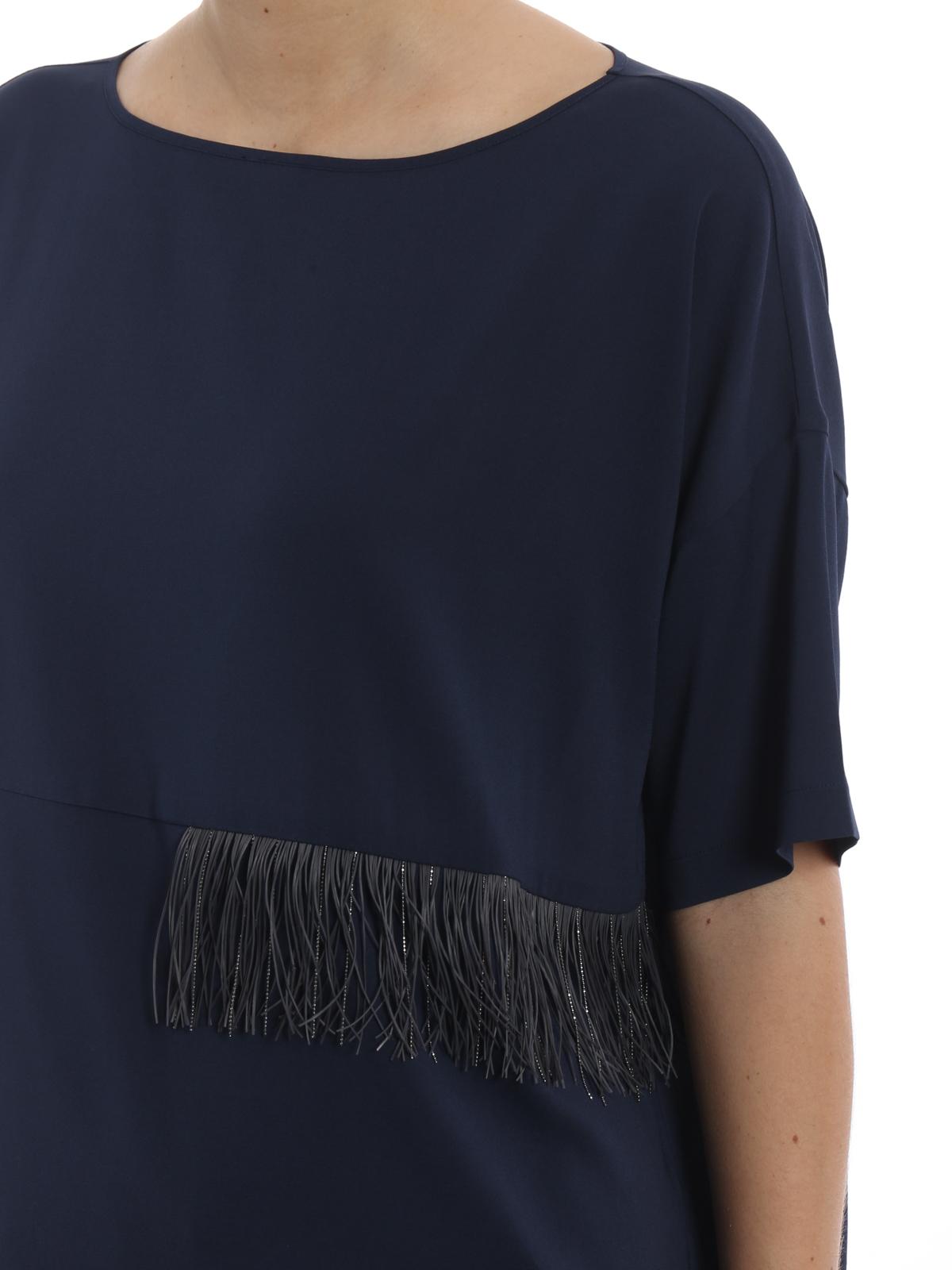 Blue silk crepe top Fabiana Filippi Reliable Latest Online uWmDU4