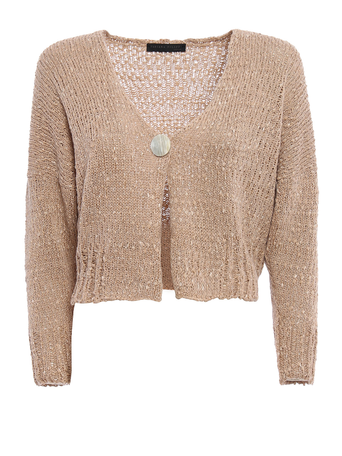 Knitting Edges Uneven : Uneven knitted cotton crop cardigan by fabiana filippi