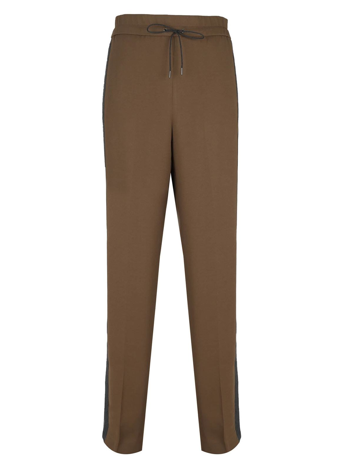 Fabiana Filippi SIDE BANDS PANTS IN BROWN