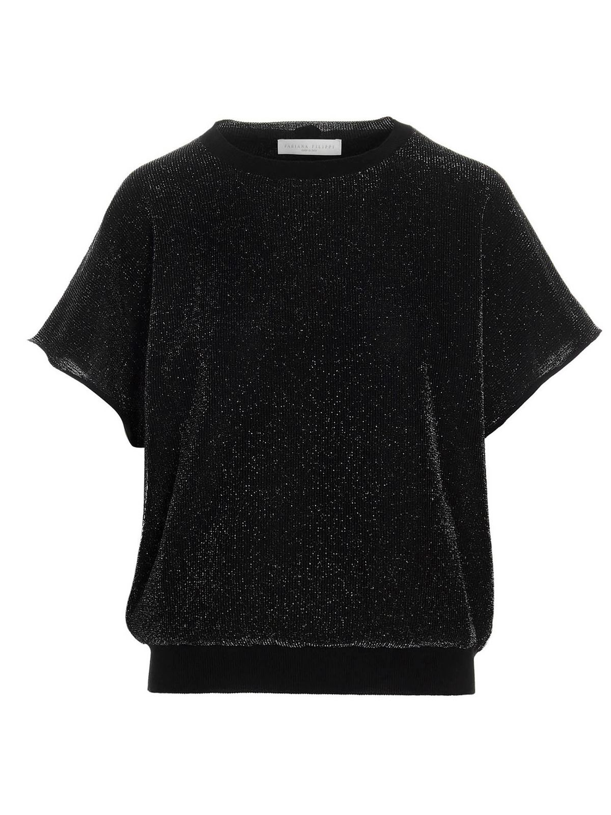 Fabiana Filippi LUREX INSERT SWEATER IN BLACK