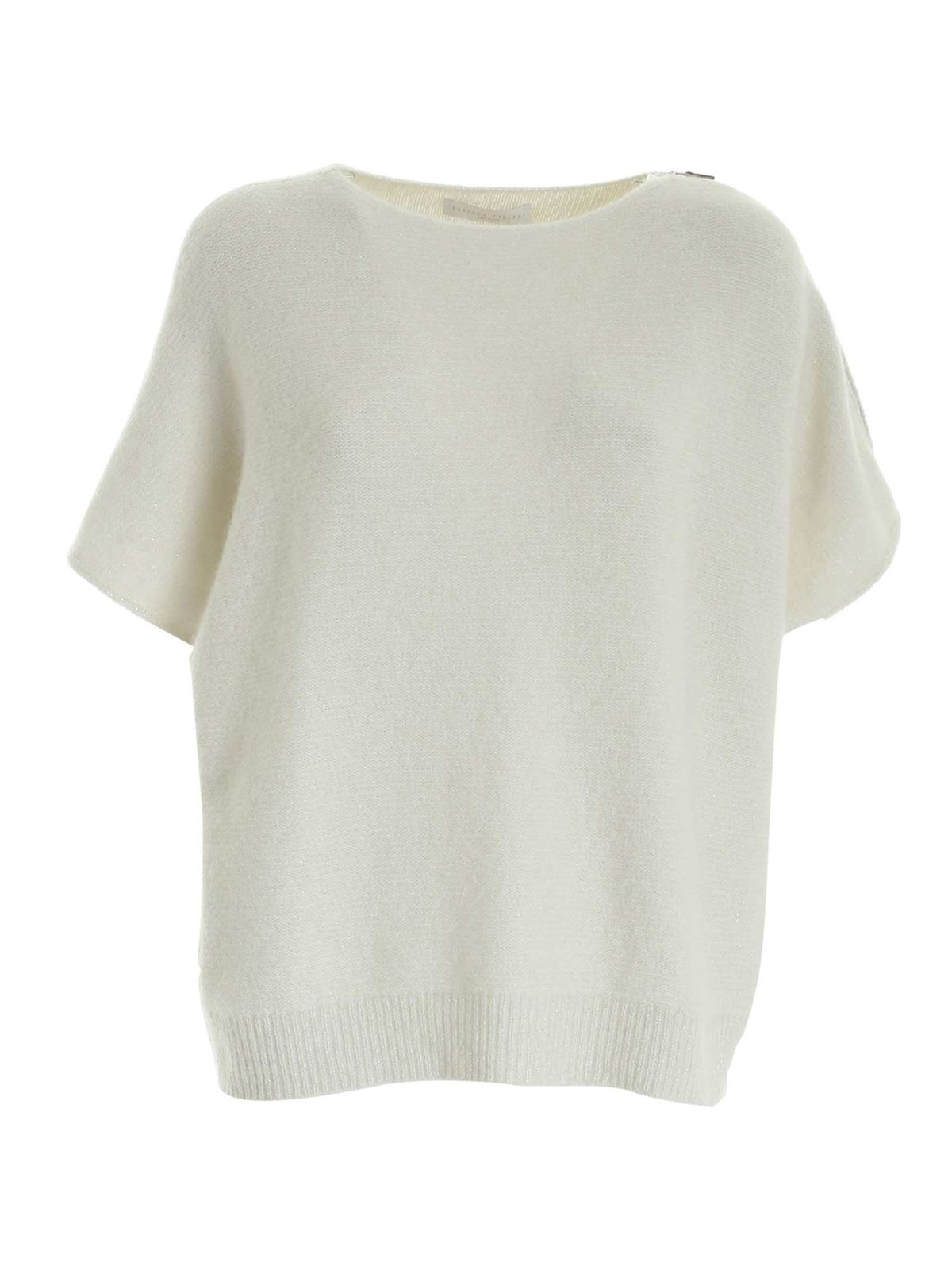 Fabiana Filippi SILVER LAME PULLOVER IN CREAM COLOR