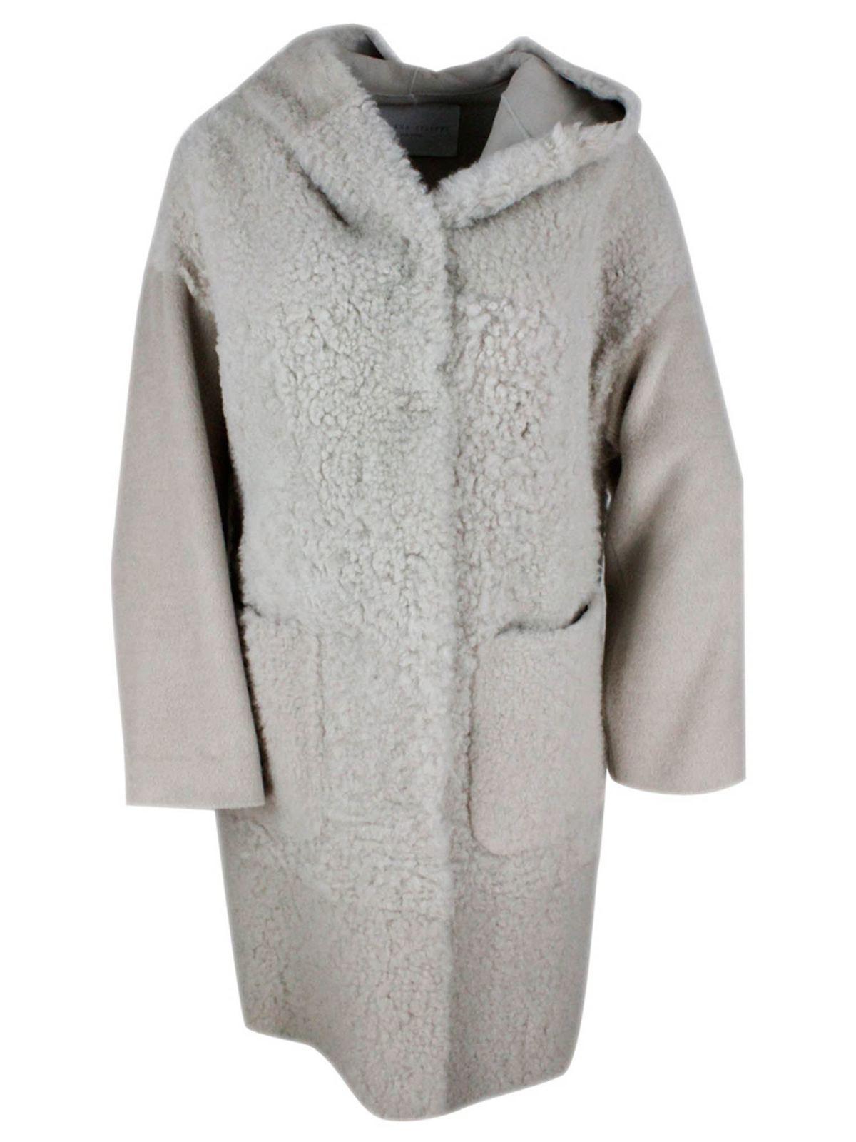 Fabiana Filippi HOODED SHEEPSKIN COAT IN BEIGE