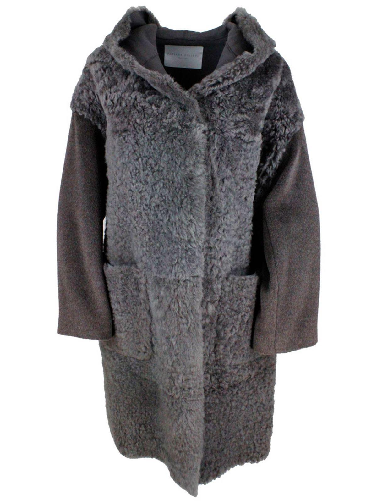 Fabiana Filippi SHEEPSKIN COAT IN AGATE BROWN COLOR