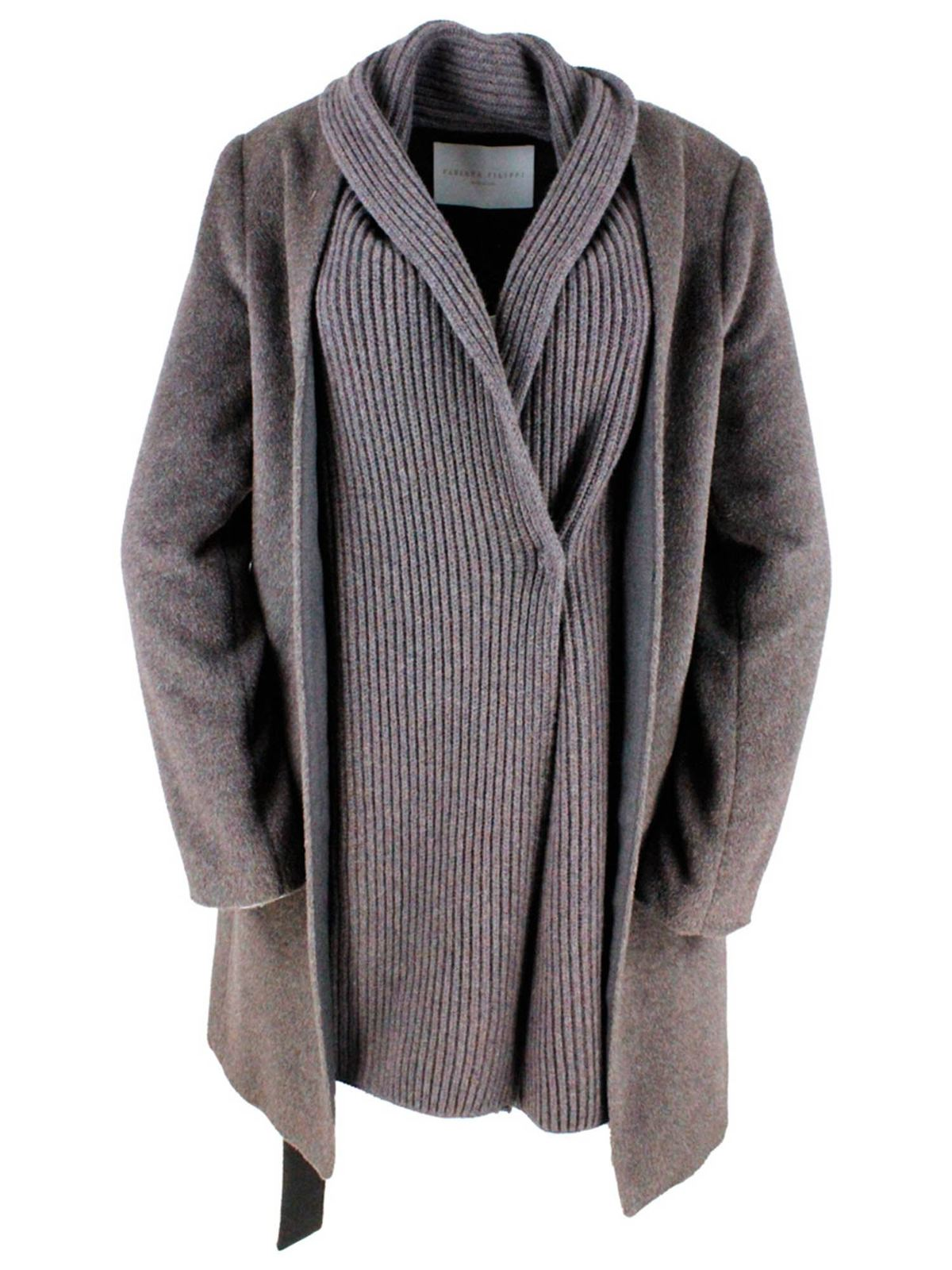 Fabiana Filippi KNITTED FINISH COAT IN AGATE BROWN COLOR