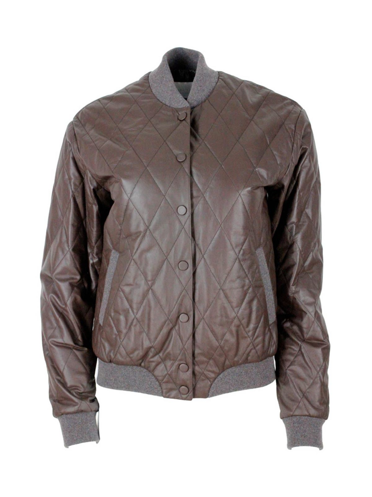 Fabiana Filippi QUILTED BOMBER JACKET IN BROWN