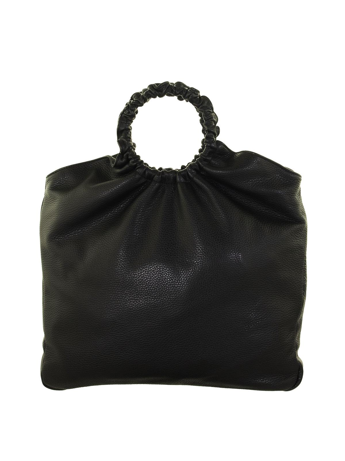 Fabiana Filippi Ring Shape Handle Leather Shoulder Bag In Black