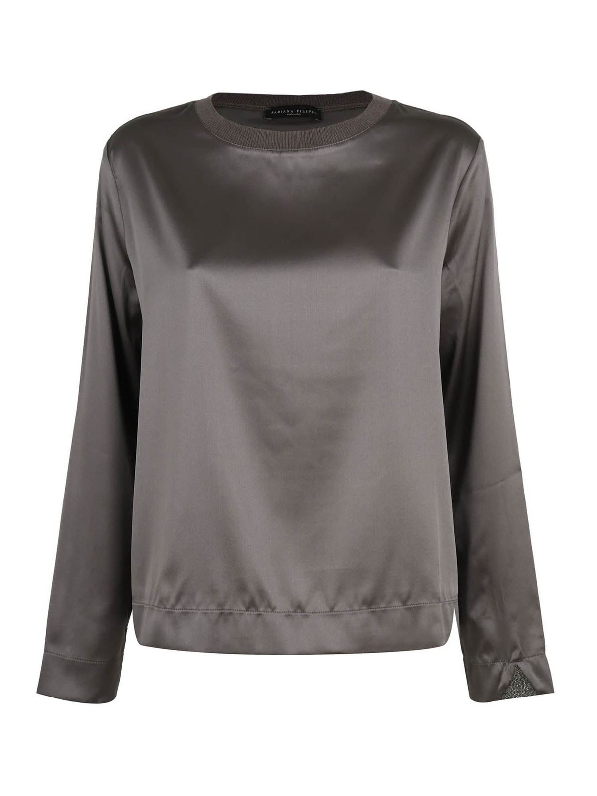Fabiana Filippi JEWEL DETAIL SILK T-SHIRT IN BROWN
