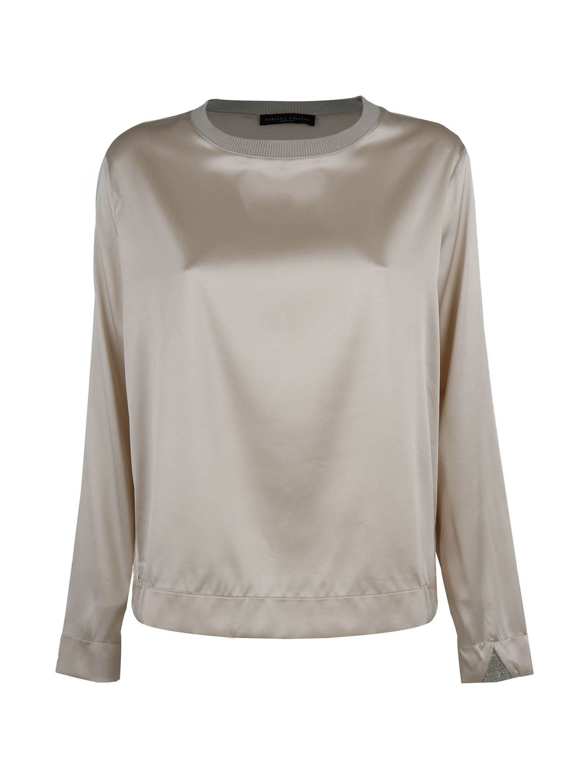 Fabiana Filippi JEWEL DETAIL SILK T-SHIRT IN GREY