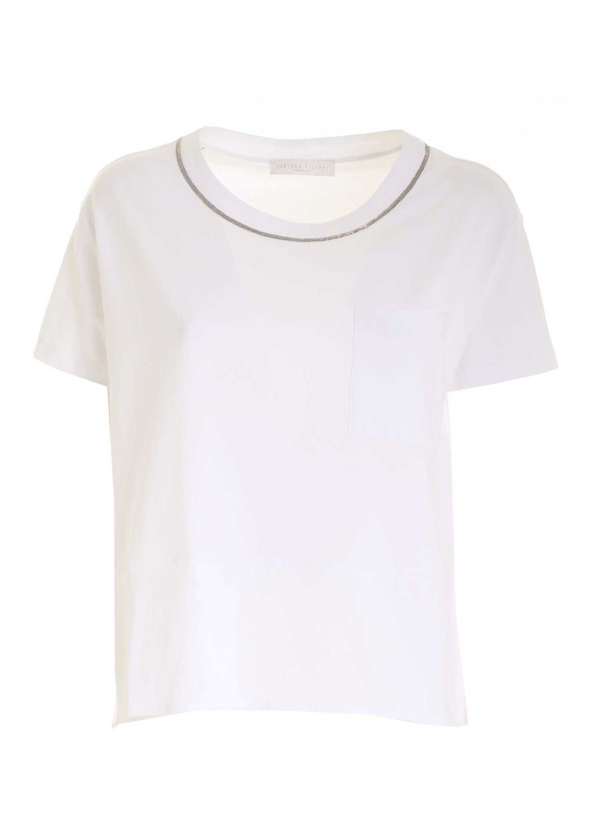 Fabiana Filippi MICRO BEADS T-SHIRT IN WHITE