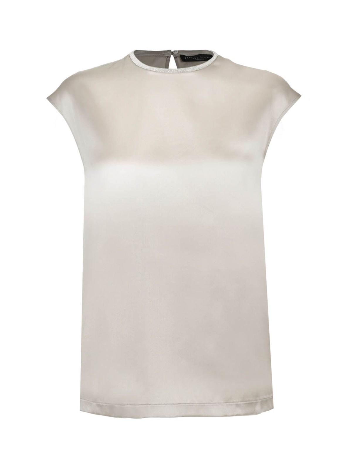 Fabiana Filippi BEADED SATIN TOP IN PEARL GRAY