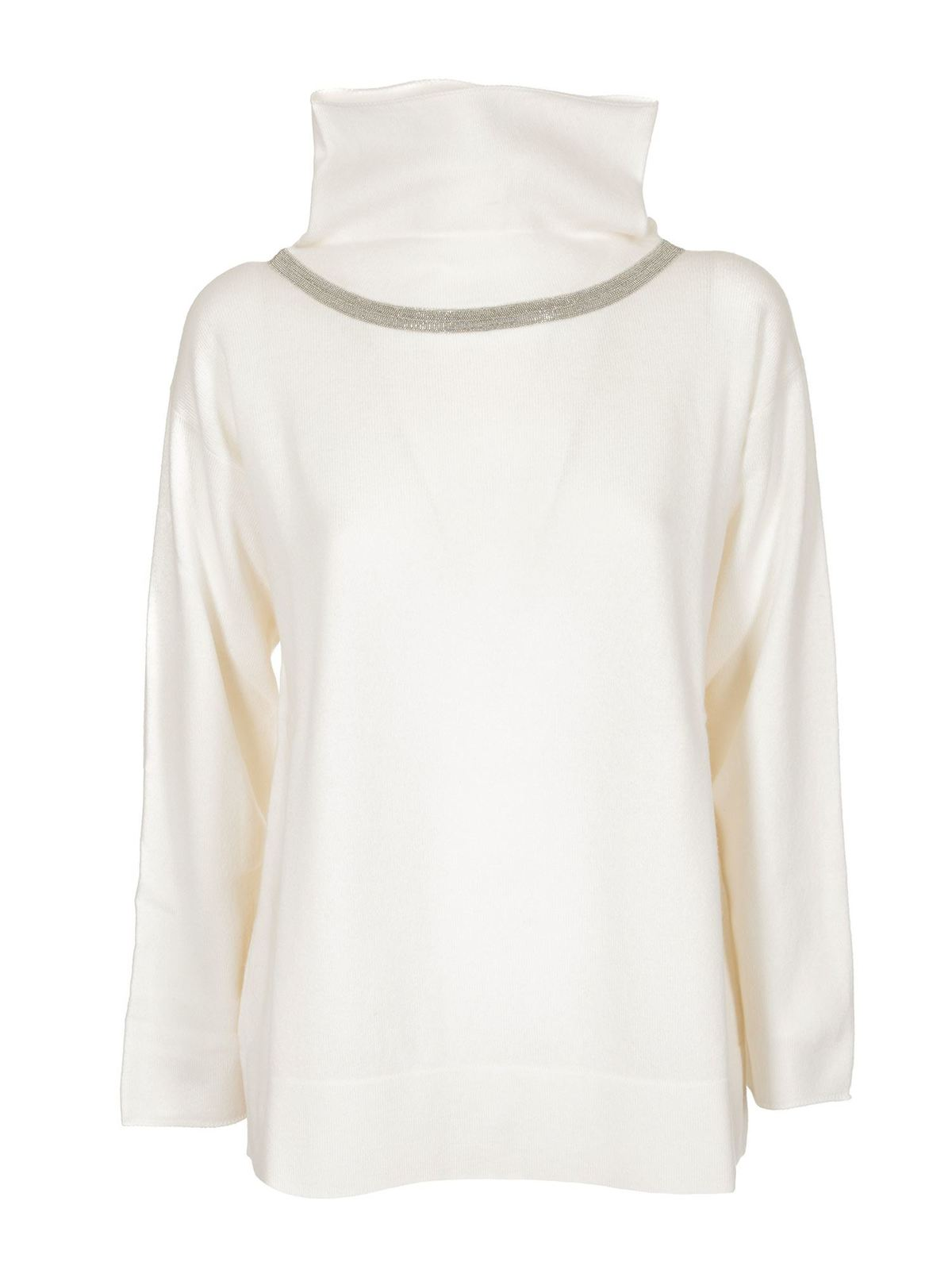 Fabiana Filippi EMBELLISHED TURTLENECK IN WHITE