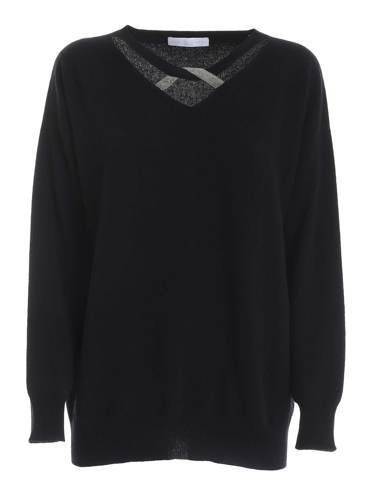 Fabiana Filippi LAME DATAIL ON THE NECKLINE PULLOVER IN BLACK